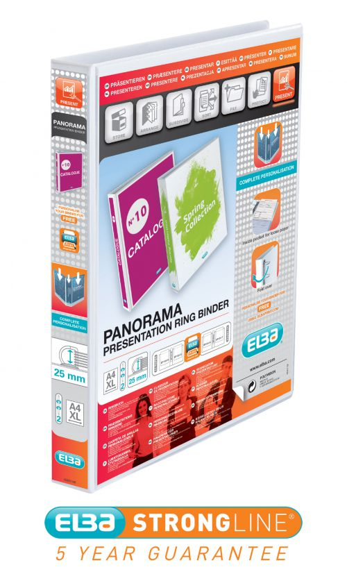 Elba Panorama Presentation Binder A4+ 25mm Capacity 40mm Spine 2 D-Ring White
