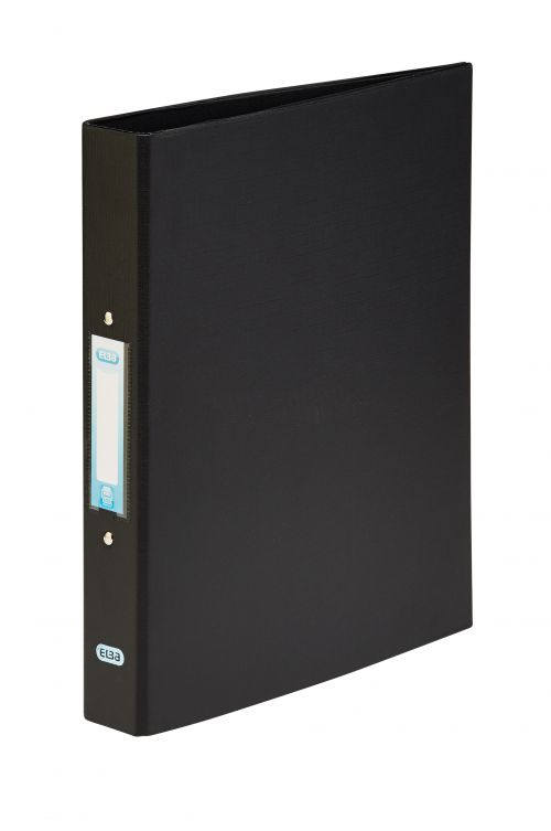 Elba Ring Binder PVC 2 O-Ring Size 25mm A4 Black Ref 400001512 [Pack 10]