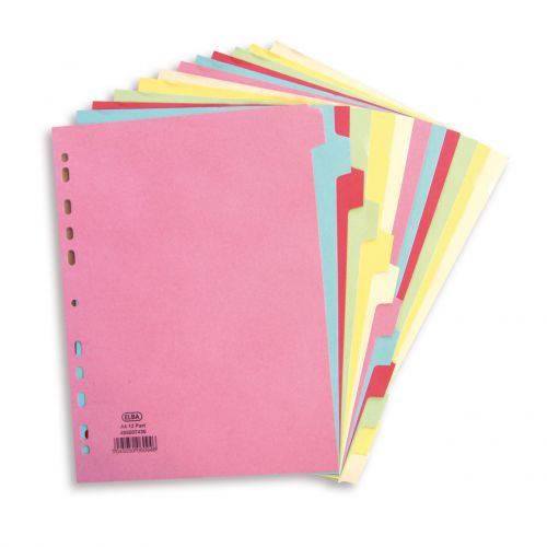 Elba Subject Dividers 12-Part Card Multipunched Recyclable 160gsm A4 Assorted Ref 400007436