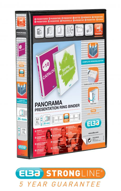 Elba Panorama 25mm 2 D-Ring Presentation Binder A4 Black (Pack of 6) 400008411