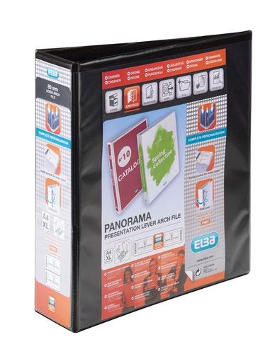 Elba Panorama Presentation Lever Arch File Polypropylene A4 70mm Spine Width Black (Pack 5)
