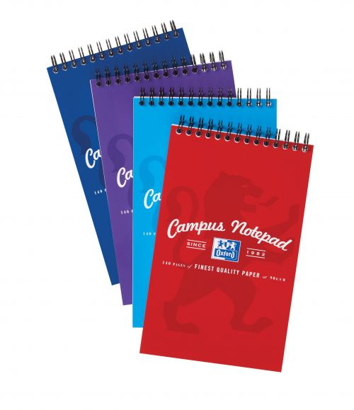 Oxford Campus Reporters Notebook 90gsm Ruled Perforated 140pp 125x200mm Assorted Ref 400013924 [Pack 10]