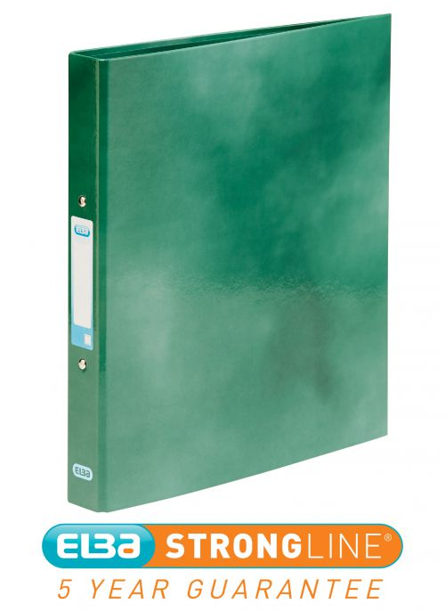 Elba Ring Binder Laminated Gloss Finish 2 O-Ring 25mm Size A4+ Green Ref 400017756