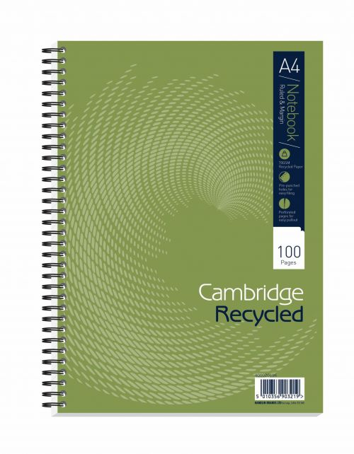 Cambridge Ruled Recycled Wirebound Notebook 100 Pages A4 (Pack of 5) 400020196