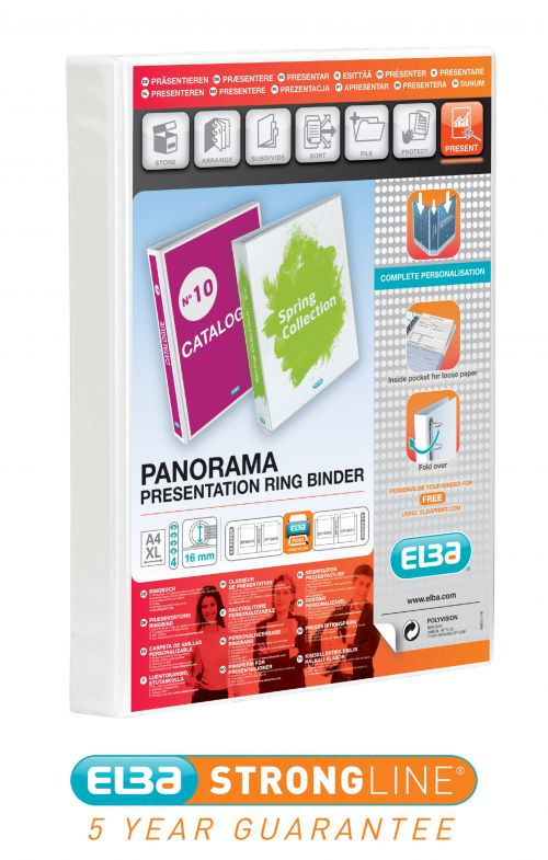 Elba Panorama Presentation Ring Binder PVC 4 O-Ring 16mm Capacity A4 White Ref 400020311 [Pack 5]