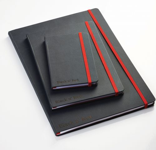Black n Red A4 Casebound Hard Cover Journal Ruled 144 Pages Black/Red