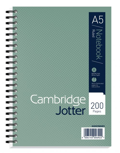 Cambridge Ruled Margin Wirebound Jotter Notebook 200 Pages A5 (Pack of 3) 400039063
