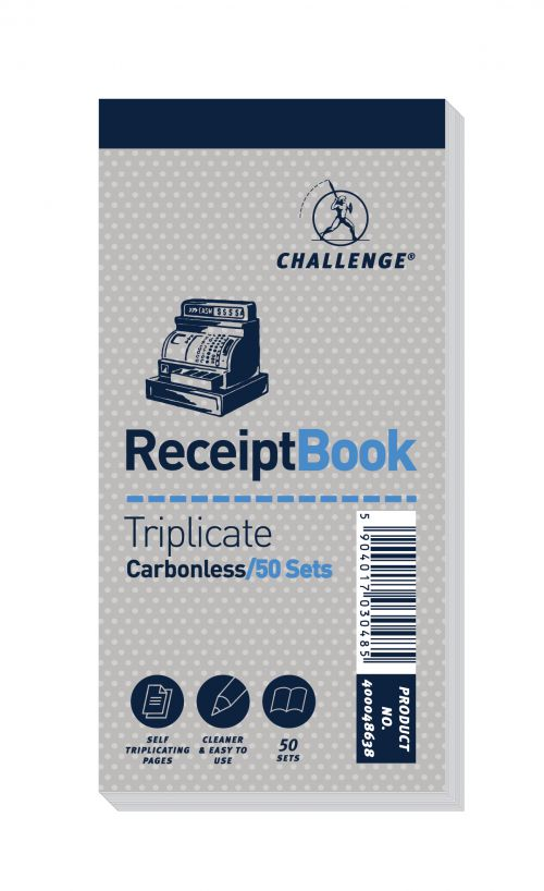 Challenge Triplicate Book Carbonless Receipt 50 Receipts 140x70mm (Pack 10)