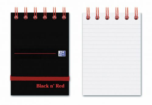 Black N Red Glossy Wirebound Notebook with Elastic Strap Ruled Perforated 140P A7