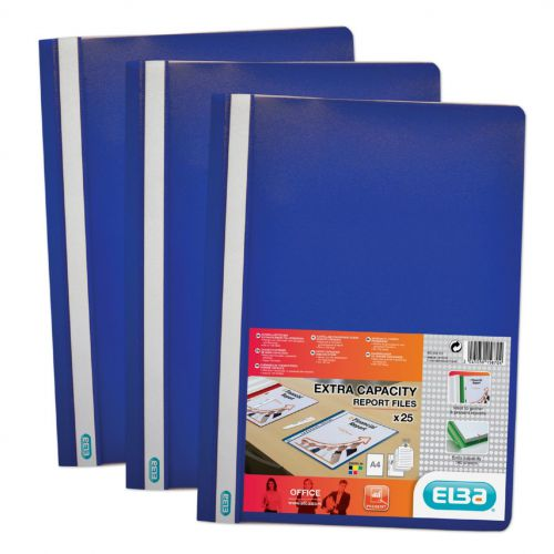 Elba Report Folder Capacity 160 Sheets Clear Front A4 Blue Ref 400055030 [Pack 50]