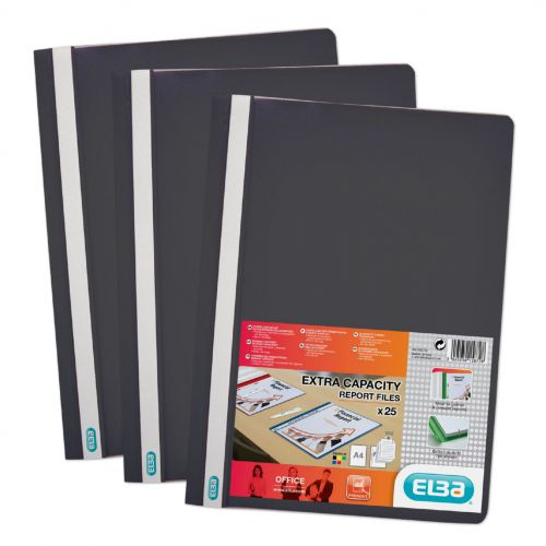 Elba Report Folder Capacity 160 Sheets Clear Front A4 Black Ref 400055033 [Pack 50]