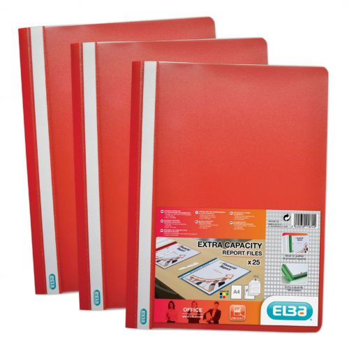 Elba Report Folder Capacity 160 Sheets Clear Front A4 Red Ref 400055034 [Pack 50]