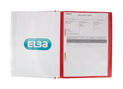 Elba A4+ Report File Capacity 160 Sheets Clear Front A4 Red Ref 400055038 [Pack 25]