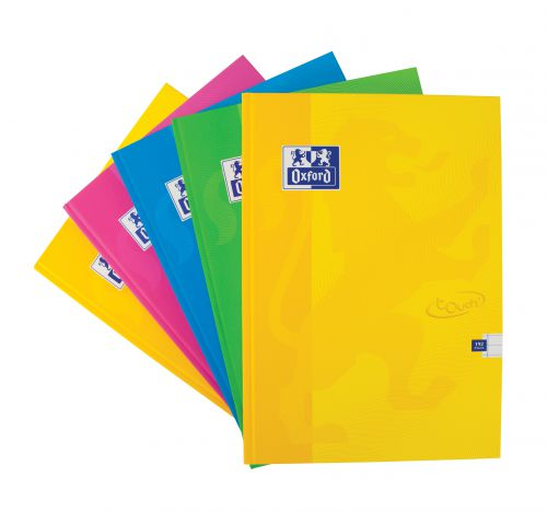 Oxford Touch A4 192 Page Hardback Casebound Notebook Assorted (Pack of 5)