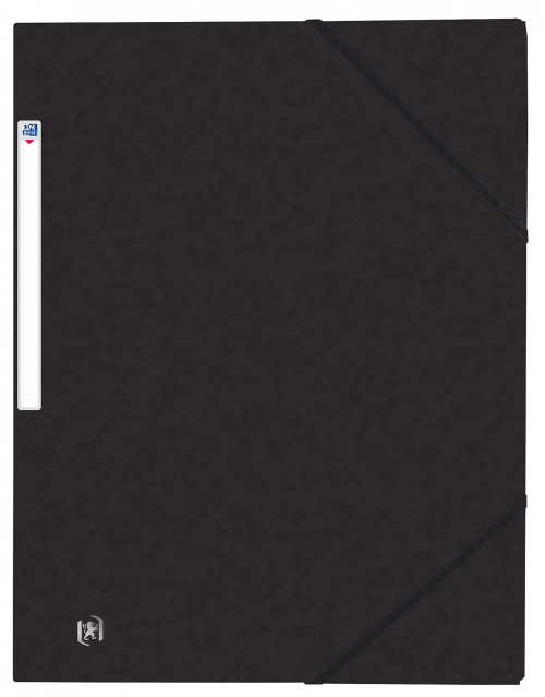 Oxford Elasticated 3-Flap Folder 450gsm Manilla A4 Black Ref 400114334 [Pack 10]