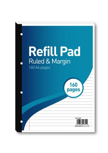 Hamelin 8mm Ruled/Margin Refill Pad A4 80 Sheet (Pack of 5) 400127657
