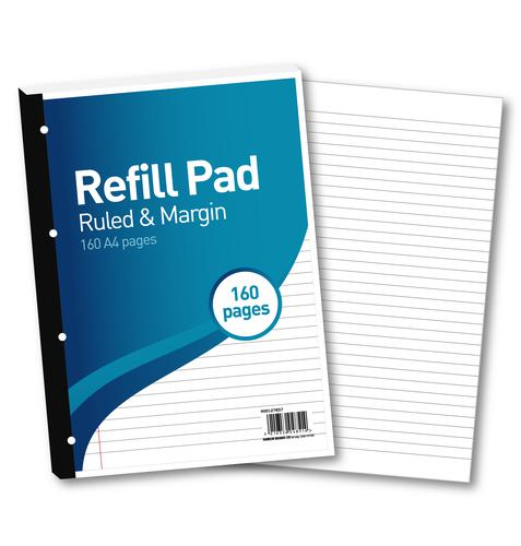 Hamelin 8mm Ruled/Margin Refill Pad A4 80 Sheet (Pack of 5) 400127657 Refill Pads JD04851
