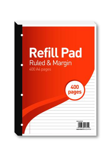Hamelin 8mm Ruled/Margin Refill Pad A4 400 Sheet (Pack of 5) 400127670
