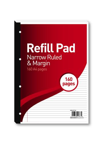 Hamelin 6mm Ruled/Margin Refill Pad A4 80 Sheet (Pack of 5) 400127710