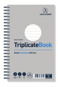 Challenge Wirebound Triplicate Book Ruled Carbonless 50 Sets 210 x 130mm (Pack of 5) 100080512