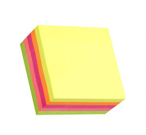 ValueX Stickn Notes Cube 76x76mm 400 Sheets Neon Colours 21012