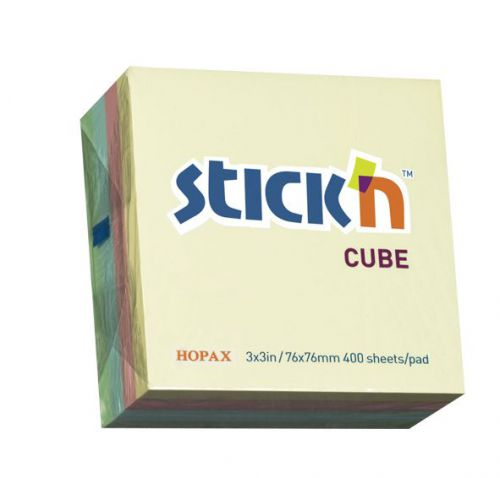ValueX Stickn Notes Cube 76x76mm 400 Sheets Pastel Colours 21013