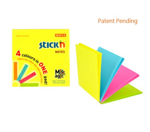 Stickn Magic Pad 76x76mm 4 Neon Colours 100 sh/pad PK12