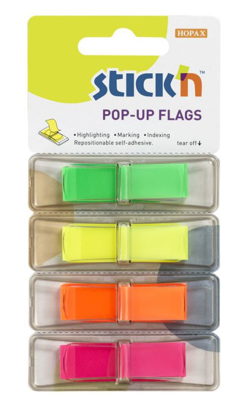 ValueX Stickn PopUp Flags 12mm 160 Tabs 4 Neon Colours 26017