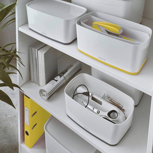 Leitz MyBox WOW Small with lid  Storage Box 5 litre  W 318 x H 128 x D 191 mm. A5. Yellow