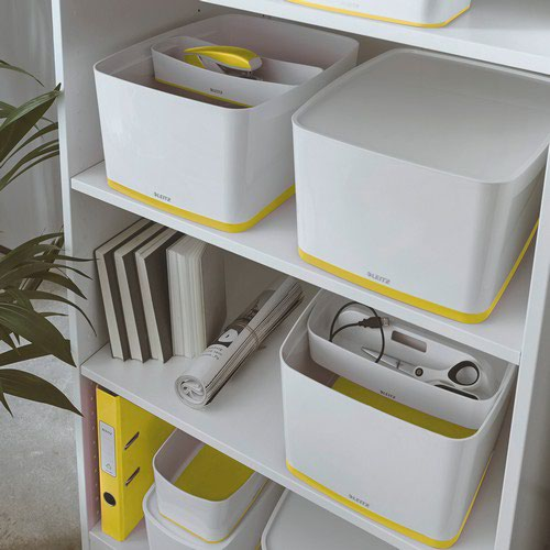 Leitz MyBox WOW Large with lid  Storage Box 18 litre  W 318 x H 198 x D 385 mm. A4. Yellow