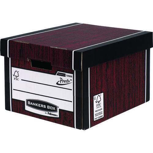 Premium Classic Box-Woodgrain (Fsc) Storage Box  5  Pack
