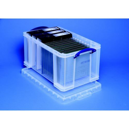 Really Useful Storage Box Plastic Lightweight Robust Stackable 48 Litre 290x465x270mm Clear
