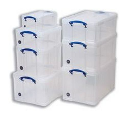 Really Useful Storage Box Plastic Lightweight Robust Stackable 18 Litre 290x465x270mm Clear