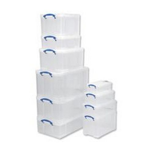 Really Useful Storage Box Plastic Lightweight Robust Stackable 24 Litre 290x465x270mm Clear