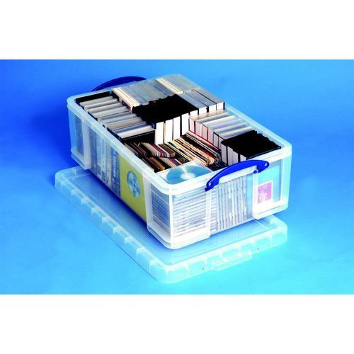 Really Useful Storage Box Plastic Lightweight Robust Stackable 50 Litre 440x710x230mm Clear