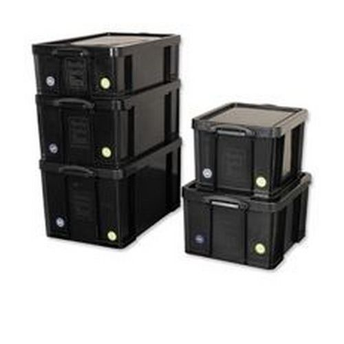Really Useful 84 Litre Recycled Storage Box Black