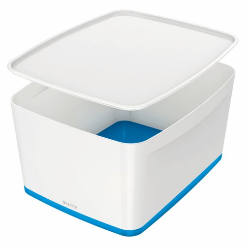 Leitz Mybox Large With Lid White/Blue Storage Containers AS9489
