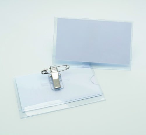 Initiative Combi Clip Name Badges 54x90mm Pack 50