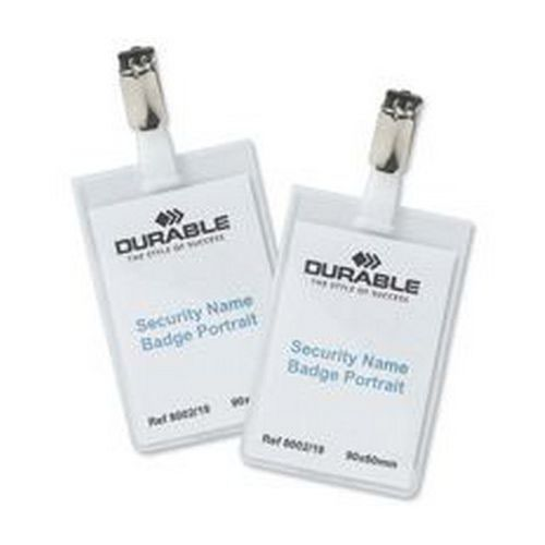 Durable Security Name Badge 90x60mm Transparent Pack 25