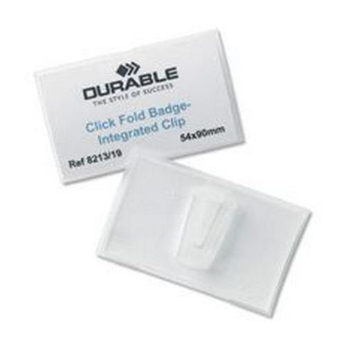 Durable Click Fold Badge With Combi Clip 54x90mm Pack 25