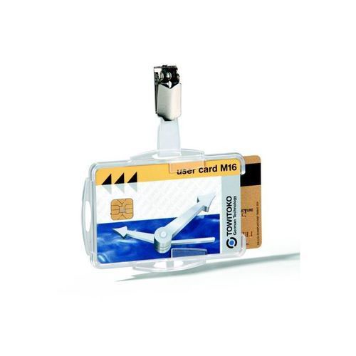 Durable Dual Security Pass Holder Clear Pack 25