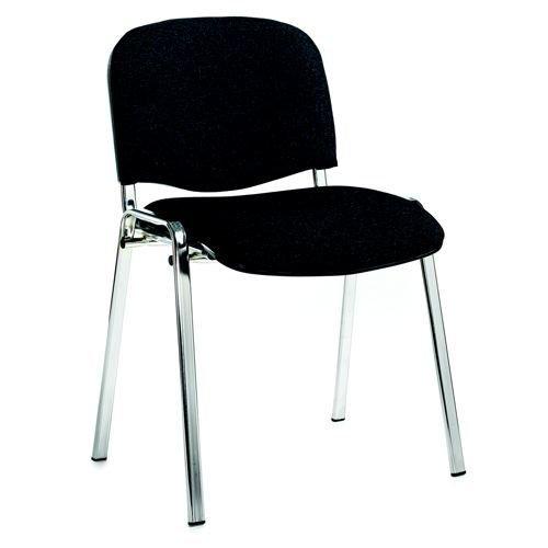 Taurus Chrome Frame Stacking Fabric Chair Charcoal