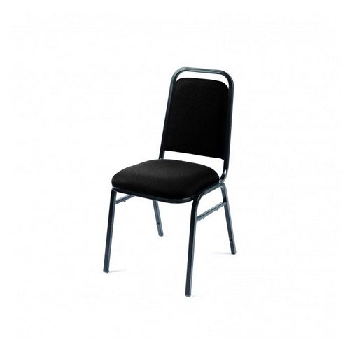 Mayfair Stacking Upholstered Chair Charc Fabric Black Frame