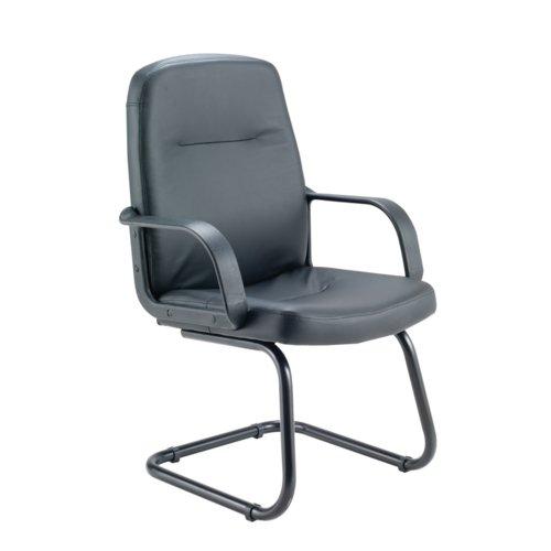 Jemini Rhone Leather Look Visitor Chair Cantilever Legs Black KF03432