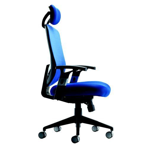 Arista Mesh High Back Task Chair With Headrest Blue KF72242