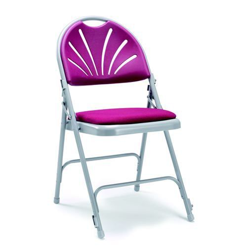 2600 Series Folding Chair Burgundy Back Upholstered Seat Sold in Boxes of 4 Chairs