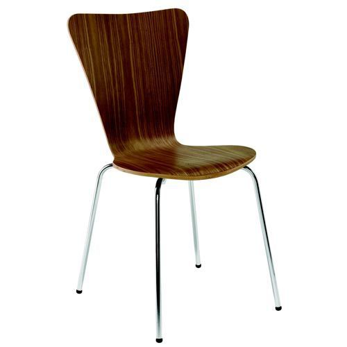 Arista Walnut/Chrome Wooden Bistro Chair (Pack of 4) KF72578