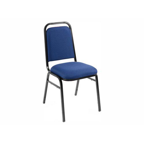 Mayfair Stacking Upholstered Chair Blue Fabric Black Frame