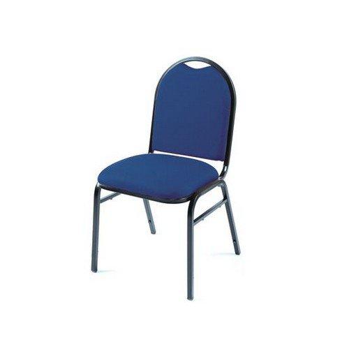 Grosvenor Stacking Upholstered Chair Blue Fabric Black Frame