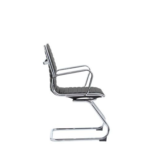 Bari Leather Faced Executive Visit Chair Black Contemporary Design